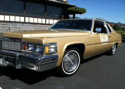 golden cadillac car